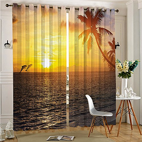 Two Gold Dolphins (SCOMIMI Faux Blackout Extra Long Curtains Trees Island Beach and Dolphins Print Accessories Slate Blue Gold Thermal Insulated & Room Darkening(2 Panels, 54