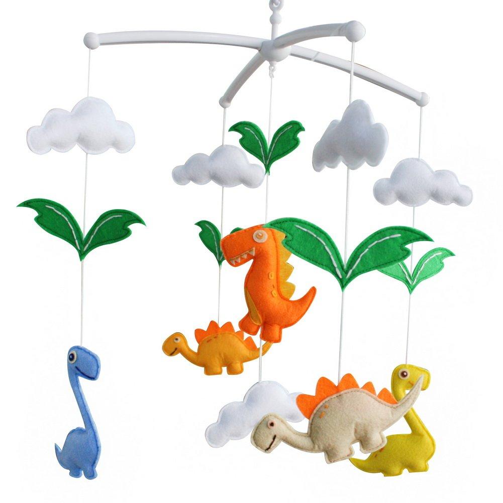 Baby Toys, [Dinosaur] Rotatable Crib Mobile, Creative Decor, Colorful Black Temptation