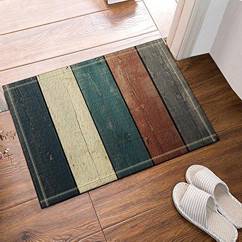 NYMB Colorful Retro Vertical Stripes Wood Pattern Bath Rugs, Non-Slip Floor Entryways Outdoor Indoor Front Door Mat,60x40cm Bath Mat