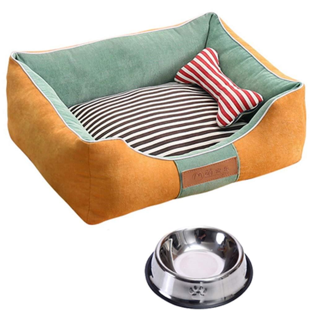 ZXPzZ 犬小屋 - 小型中型大型犬用ペットの巣取り外し可能な犬用ベッド - フォーシーズンズユニバーサルマット - 犬用ボウル (色 : 赤, サイズ さいず : 96x75CM) B07QLFTDJ5 Yellow green 75x60CM 75x60CM Yellow green