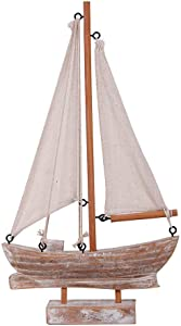 """Home Accent Wood Handcrafted Nautical Sail Boat Decor 10.75"""" H"""