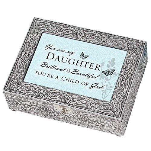 Cottage Garden Daughter Beautiful Child of God Filigree Silvertone Jewelry Music Box Plays Amazing Grace