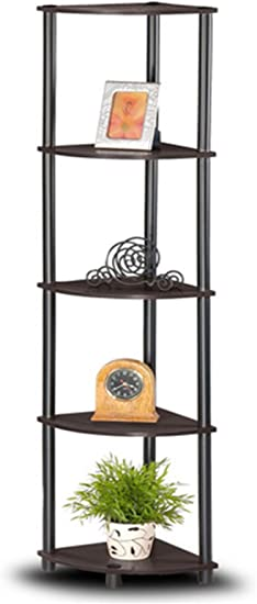 Black 5-Tier Folding Metal Corner Shelf Home Bathroom Storage Organizer Rack