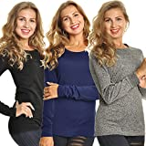 Angelina Women's Fleece Lined Long Sleeve Thermal Top, Cold Colors 3 Pack Large