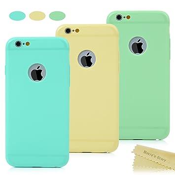 Maviss Diary Funda de iPhone 6, 6s Carcasa Silicona Gel, TPU Ultra Slim Bumper Shock-Absorción y Anti-Arañazos, Paquete de 3, Verde menta + Amarillo ...