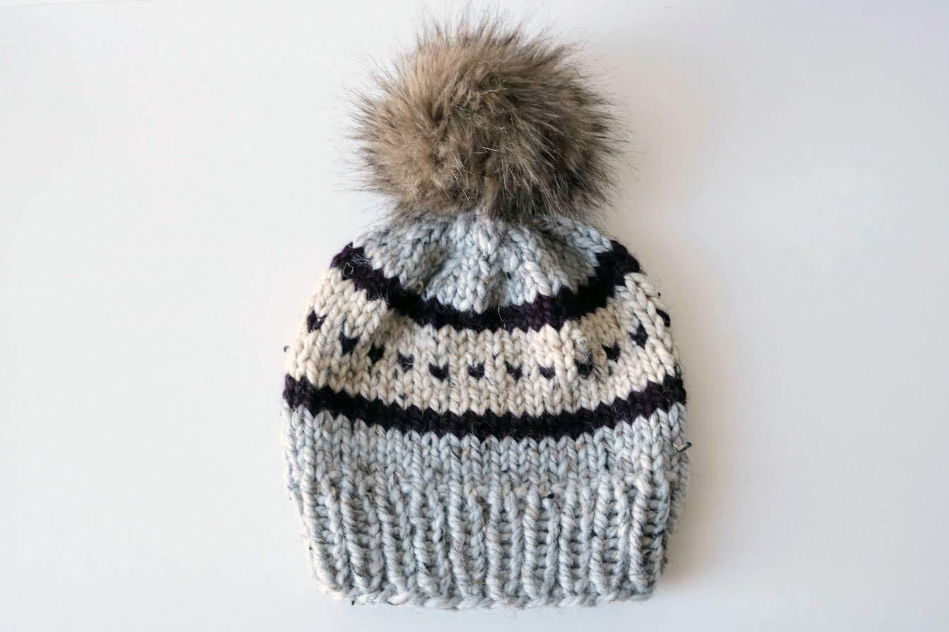 4efcb1a0 Amazon.com: Knitted Fair Isle Knit Beanie Hat with Faux Fur Pom Pom  (Adult). Handmade in Chunky, Wool Yarn. Gray Marble, Eggplant, and  Oatmeal.: Handmade
