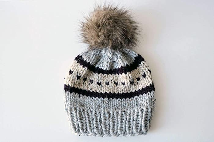 a6e20032cd7 Amazon.com  Knitted Fair Isle Knit Beanie Hat with Faux Fur Pom Pom  (Adult). Handmade in Chunky