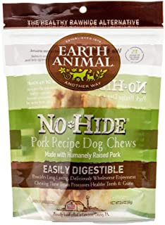 product image for Earth Animal Small No-Hide Dog Chews - Made in The USA, Natural Rawhide Alternative Treats(Pork, Small (2 per Bag))