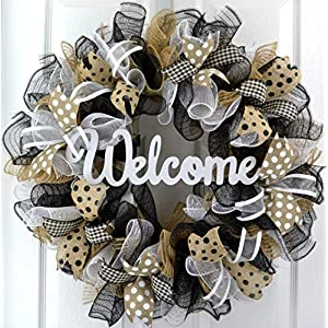 Welcome Wreaths Front Door | Burlap Everyday Year Round Outdoor Front Door Wreath; Black Jute White 16