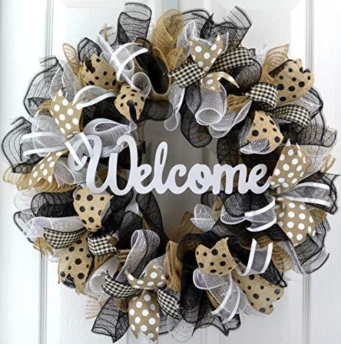 Welcome Wreaths Front Door | Burlap Everyday Year Round Outdoor Front Door Wreath Black Jute White
