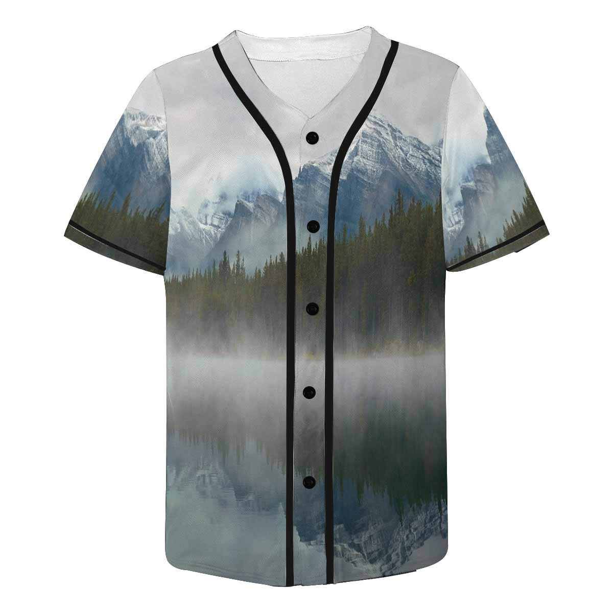 INTERESTPRINT Nature Theme Lake Herbert Panorama Foggy Mountain Baseball Jersey Short Sleeve Print Tees for Men