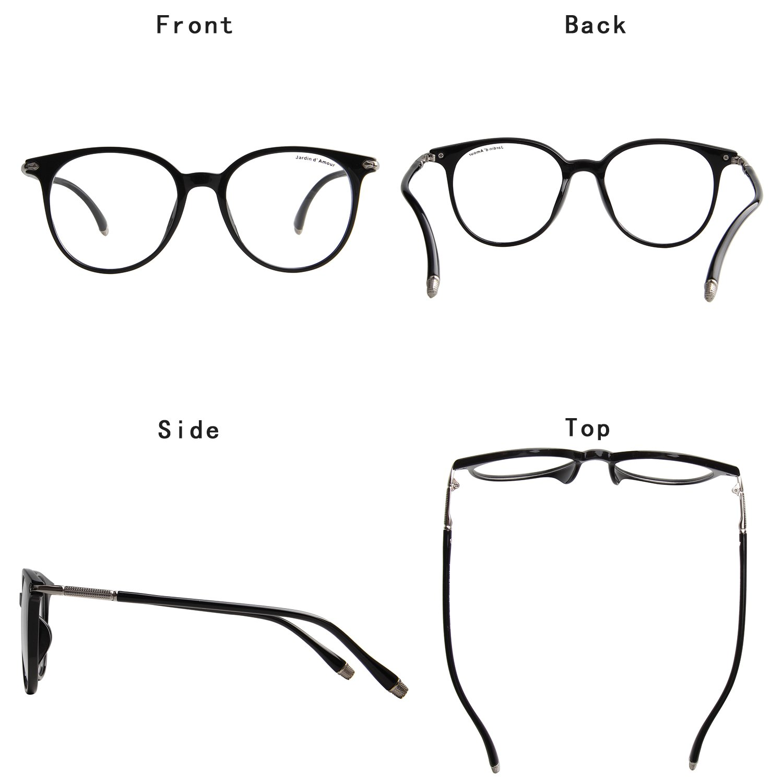 ef70735d123 Amazon.com  Jardin D amour Round Circle Eyeglasses Non-Prescription Unisex  Retro Frame Clear Lens Glasses JA7207 BK  Clothing