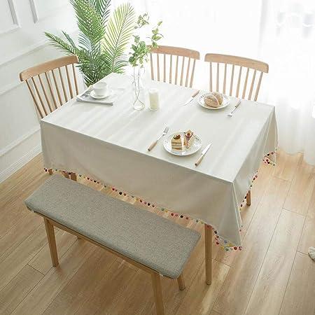 TWTIQ Mantel Blanco Algodón Lino Lavable Rectangular Cubierta De Polvo Cocina Mesa Decoración Beige 140 * 140 Cm / 55 * 55 Pulgadas: Amazon.es: Hogar