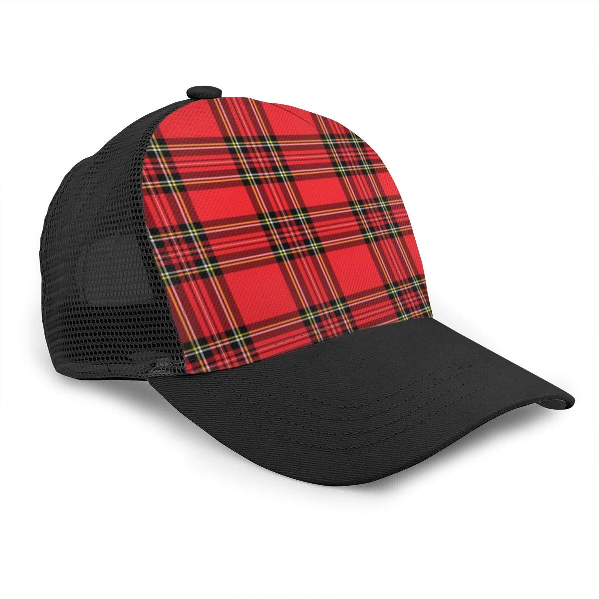 Adjustable Trucker Hat for Unisex Mens and Womens SarahKen Red and Black Plaid Pattern Flat Baseball Hat