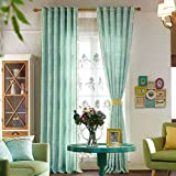 IYUEGO Modern Solid Cotton Blue Solid Grommet Top Lining Blackout Curtains Drapes 84″ W x 84″ L (One Panel) Review