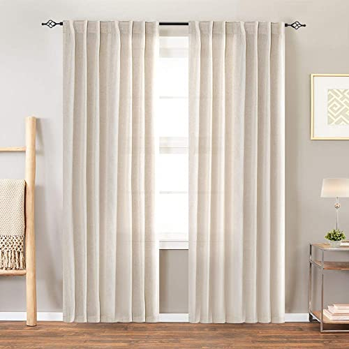 jinchan Linen Textured Curtains for Bedroom Drapes Rod Pocket Back Tab Linen Blend Curtain Panels Window Treatments for Living Room Patio Door 1 Pair 95 Inches Crude