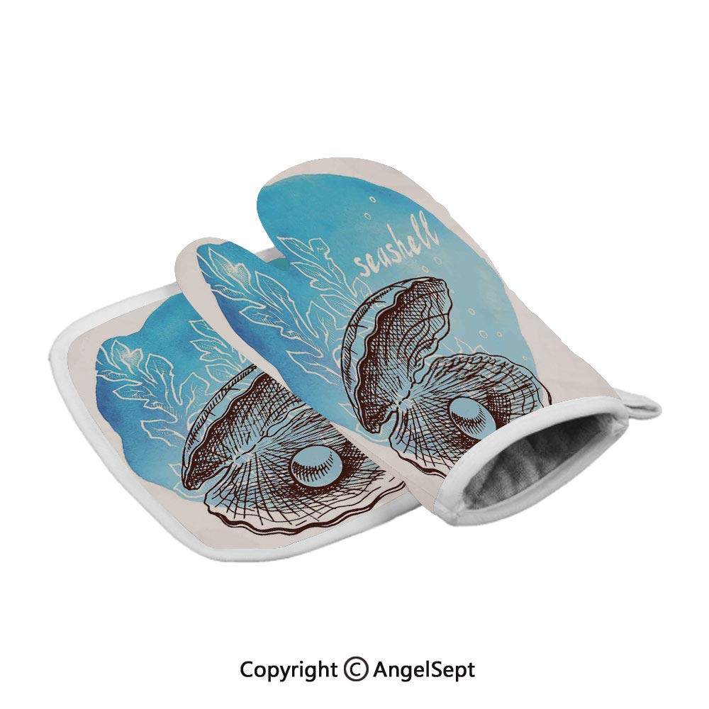 Pearl in Clam Seashell and Seaweed Watercolor Art Style Painted Print Tropical,Polyster Oven Mitts+Insulated Square Mat,Blue White,Heat Resistant Kitchen Gloves
