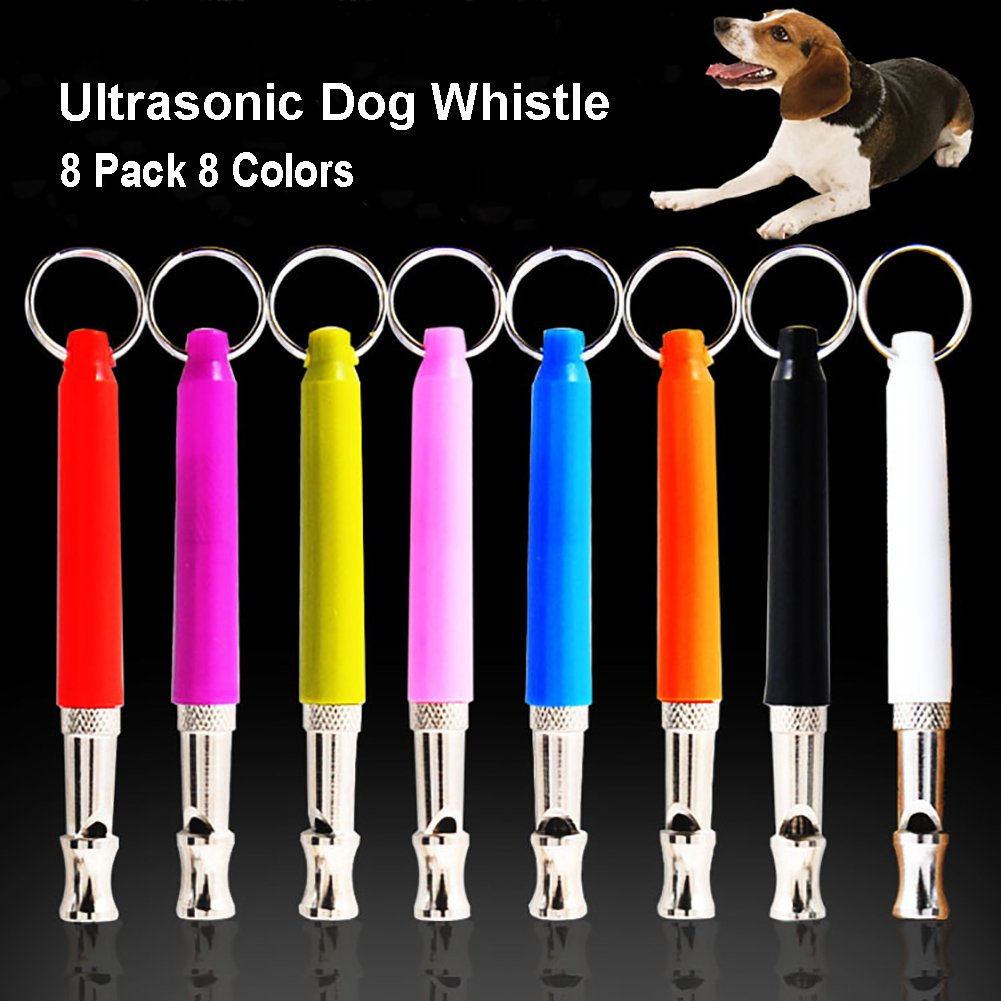 8 colors Dog Training Whistle, Adjustable Ultrasonic Silent Pet Whistle Stainless Steel Dog Whistle to Stop Barking Pack of 8 (8 colors)