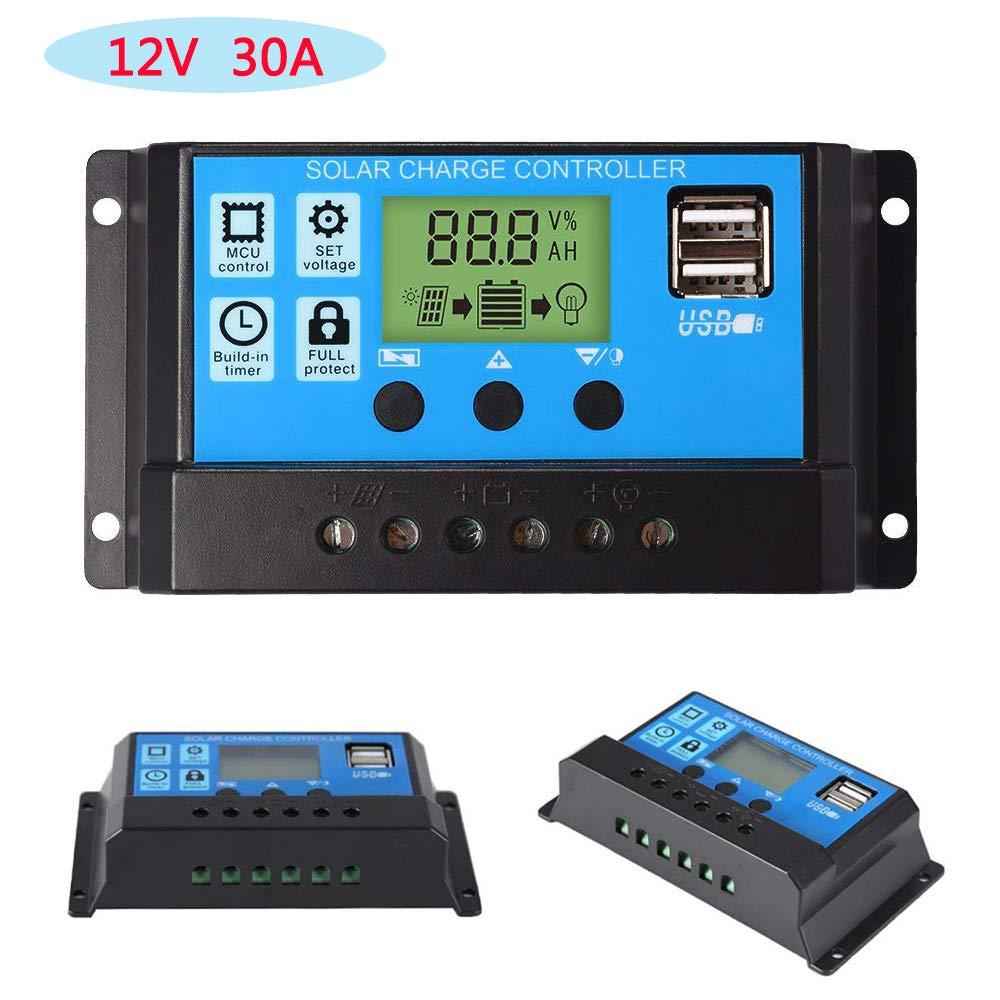 ZHITING 12V / 24V Panel solar Regulador de carga 30A PWM Pantalla LCD Puerto USB