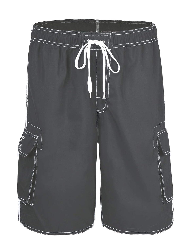 817b3dfe03 Amazon.com: Hopgo Men's Quick Dry Beach Short Solid Color Boardshorts Swim  Trunks with Mesh Lining: Clothing