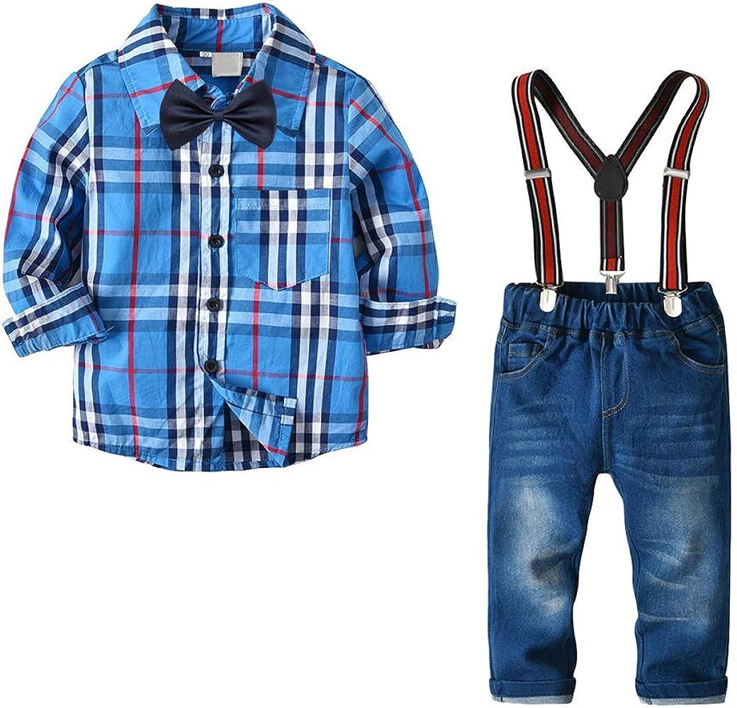 6ddc8f46cd49 Kids Baby Boys Summer Gentleman Bowtie Shirt+Suspenders Pants Set(Blue 3T)