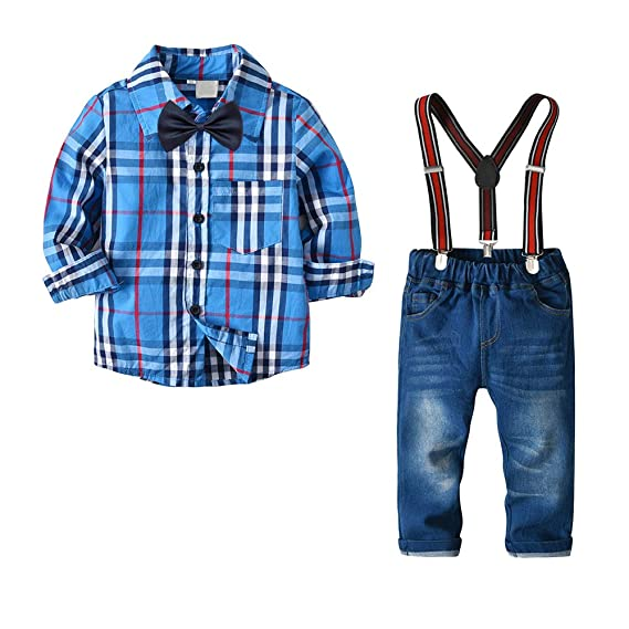 5b7aa8ebc9e162 Yilaku Enfants Bébés Garçons Hiver Gentleman Ensembles Costumes de Bebe  Garcon Tenues de Chemise avec Un Pantalon a Sangle