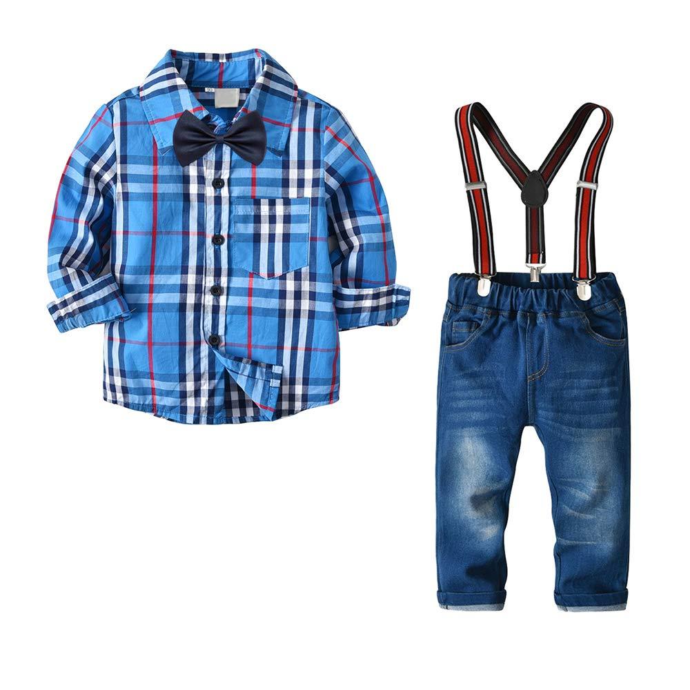 Pants 4Pcs Toddler Boys Kids Gentleman Outfit Suit Suspenders Yilaku Baby Boys Clothes Plaid Shirt Bow tie