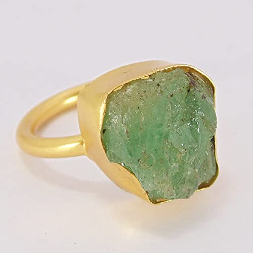 bbfe0ae7c Image Unavailable. Image not available for. Color  Handmade 18k Gold  Vermeil Green Emerald Gemstone Stackable Fashion Ring