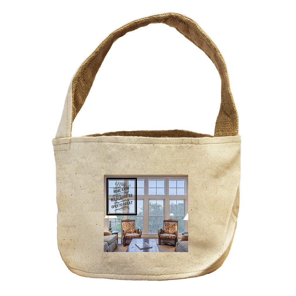 Style in Print Laughter Comes The Home Through Window Canvas and Burlap Storage Basket