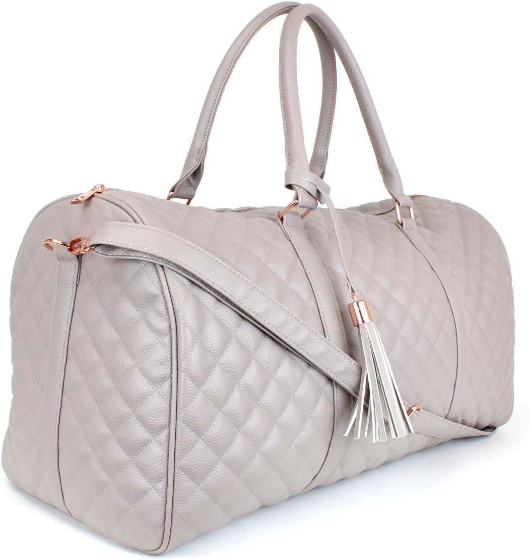 Cute Satin Inner Lining Womens Quilted Leather Weekender Travel Duffel Bag With Rose Gold Hardware Dusty Pink Bag Large 22 Size