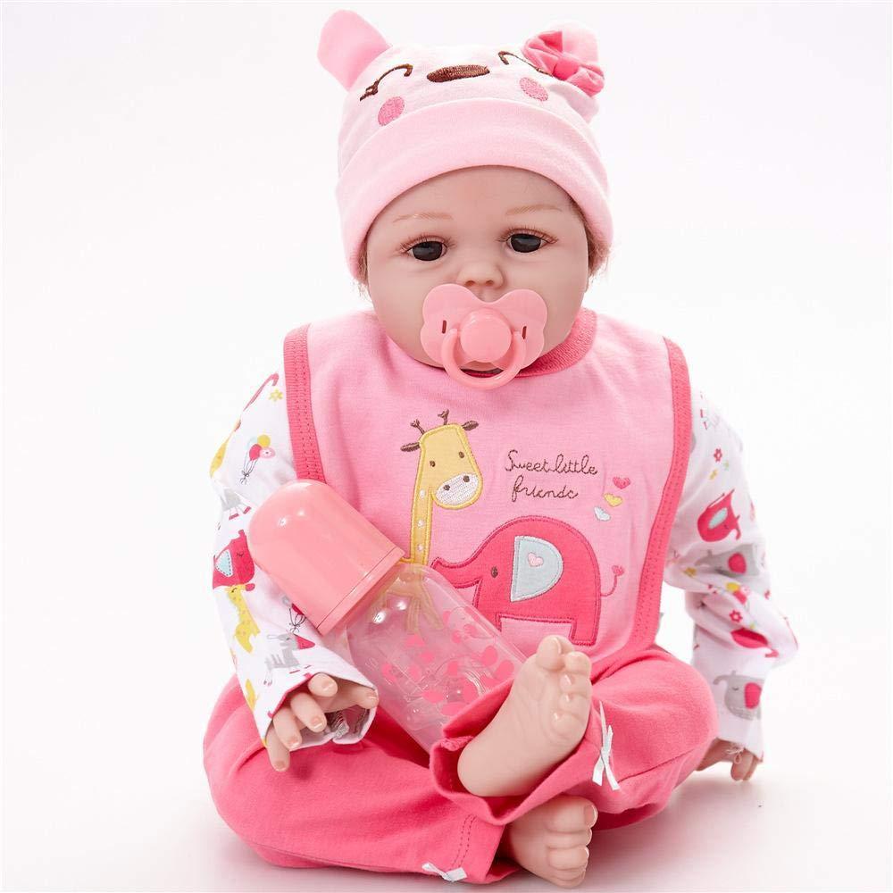 Hongge Reborn Baby Doll,Lebensechte Prinzessin wiedergeboren Mädchenpuppe 22 Zoll realistische Silikon Real Touch Neugeborene mit Kleidung Kinder Geburtstag Weißnachten Spielzeug Geschenk