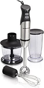 Hamilton Beach 4-in-1 Immersion Hand Blender with 7 Piece Wand, Whisk, Mixing Cup, Chopper System with Variable Speed + Turbo Boost Power, Stainless Steel (59766)
