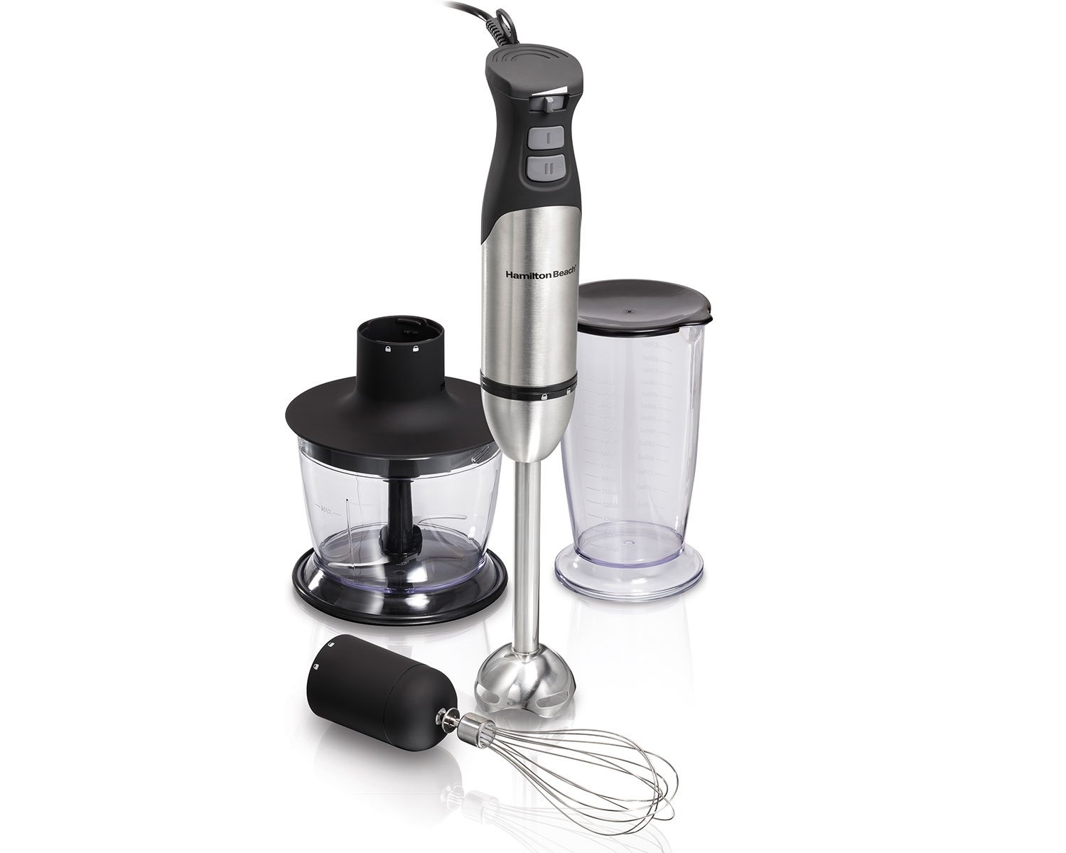 Hamilton-Beach 225 Watt Hand Blender (7 Piece Wand, Whisk, Mixing Cup, Chopper System) with 2 Speeds, Variable Speed & Turbo Boost Power (59766), Silver Hamilton Beach