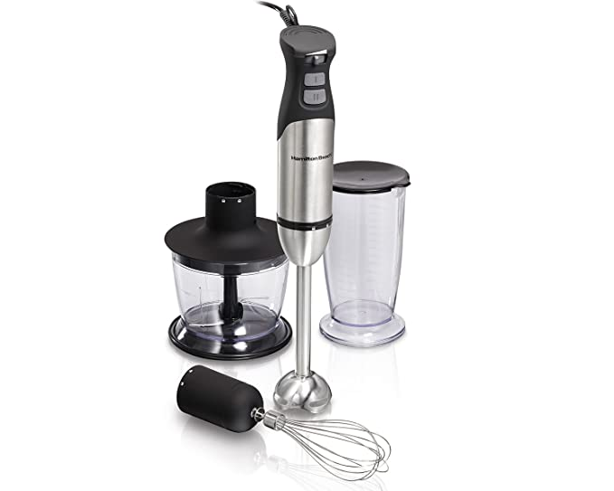 Hamilton Beach 040094597666 225 Watt Hand Blender (7 Piece Wand, Whisk, Mixing Cup, Chopper System) with 2 Speeds, Variable Speed & Turbo Boost Power ...