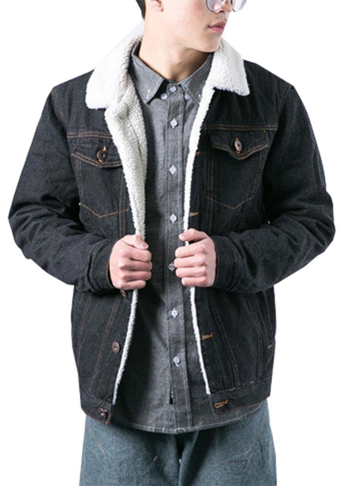 LifeHe Men's Winter Fleece Lined Fur Collar Denim Jacket Coats 2018 (Black, M)