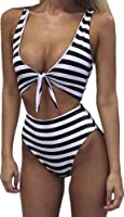 Inorin Sexy High Waisted Womens V Neck Striped Bikini One Piece Swimsuit Monokini