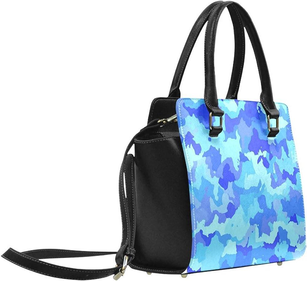 InterestPrint Custom Classic Shoulder Handbag Camouflage Blue Shoulder Bag For Women