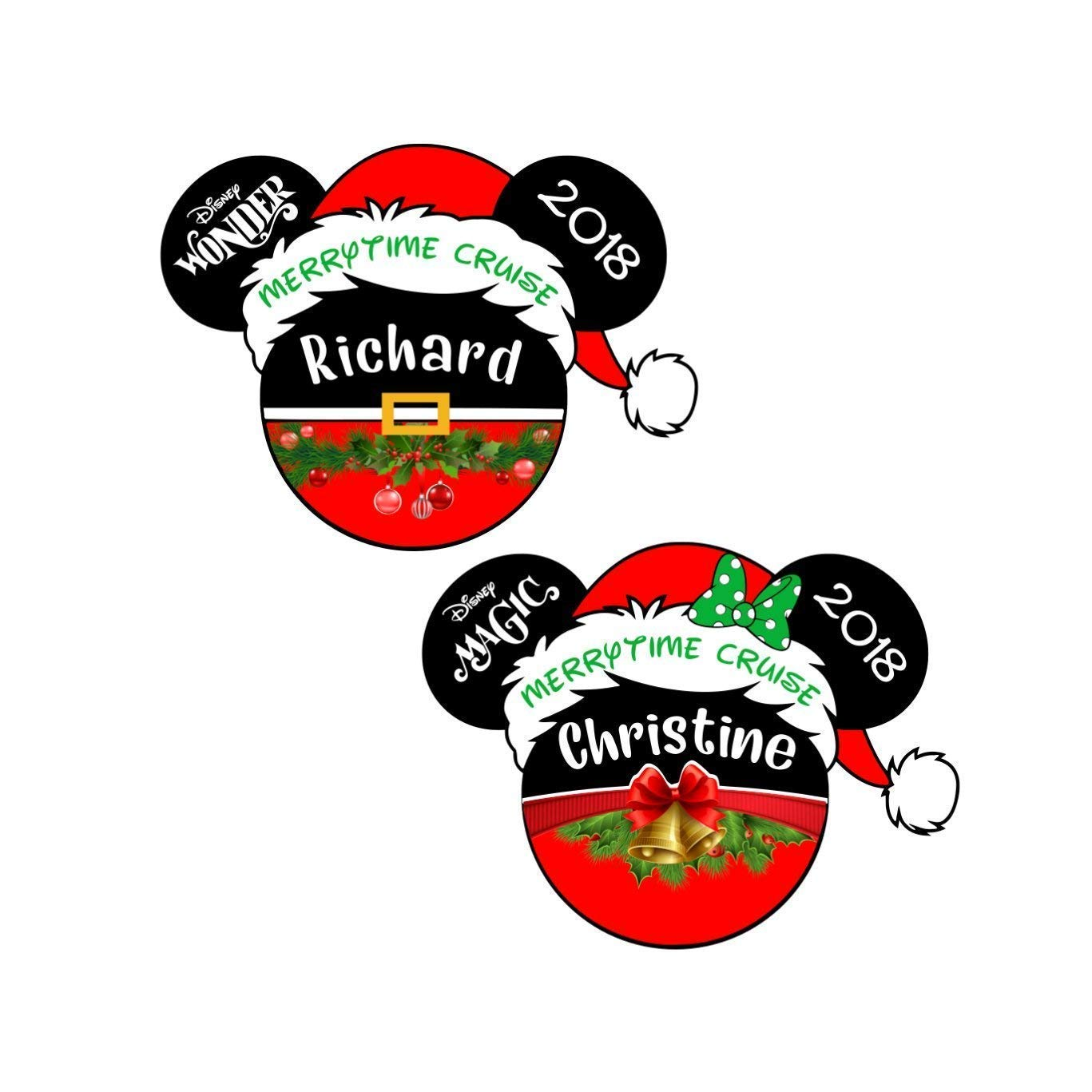 Christmas Disney Cruise Door Magnet FREE SHIPPING Disney Inspired Christmas Santa Magnet LARGE Personalized Merrytime Christmas Magnet