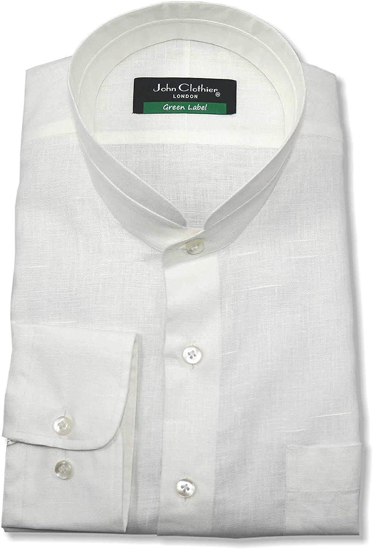 Nehru Collar Camisa de Lino Peaky Blinders para Hombre Banda Blanca Mandarina Grandad Collar: Amazon.es: Ropa y accesorios