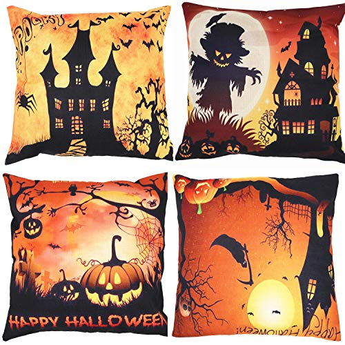 Halloween Decorative Throw Pillow Covers Pack of 4, ZUEXT Bat Cat Pumpkin Decor Cotton Linen Cushion Cover Pillow Case for Car Sofa Bed Couch 18 x 18 Inch 45 x 45 cm for $<!--$13.59-->
