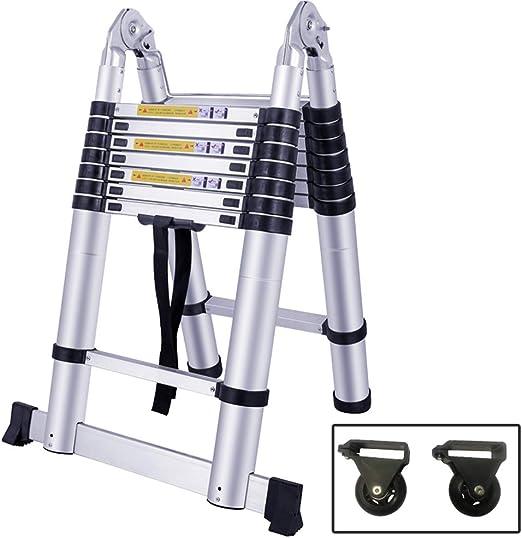 SAILUN 5m Escalera Telescópica Plegable Extensible Bisagras de Aluminio de alta Calidad Diseño Telescópico Multipropósito, 9 Peldaños - Colocación de 72 cm a 2.6 m, Capacidad de Carga de 150 kg: Amazon.es: Bricolaje y herramientas