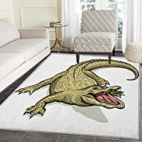 Reptile Area Rug Carpet Illustration of Exotic Wild Crocodile Hungry Mouth Predator Aquatic Safari Theme Living Dining Room Bedroom Hallway Office Carpet 4x5 Navy White