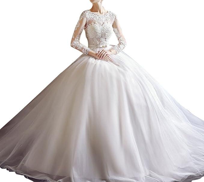 Charm novia princesa ball-gown mujeres vestido de novia para novia con manga larga
