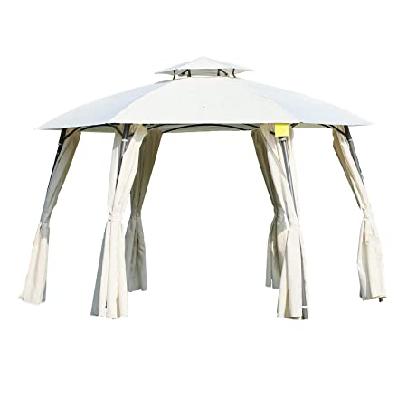 Outsunny 12 x 9 Steel Outdoor Patio Hexagon Gazebo Pavilion Canopy Tent with Curtains – Cream White