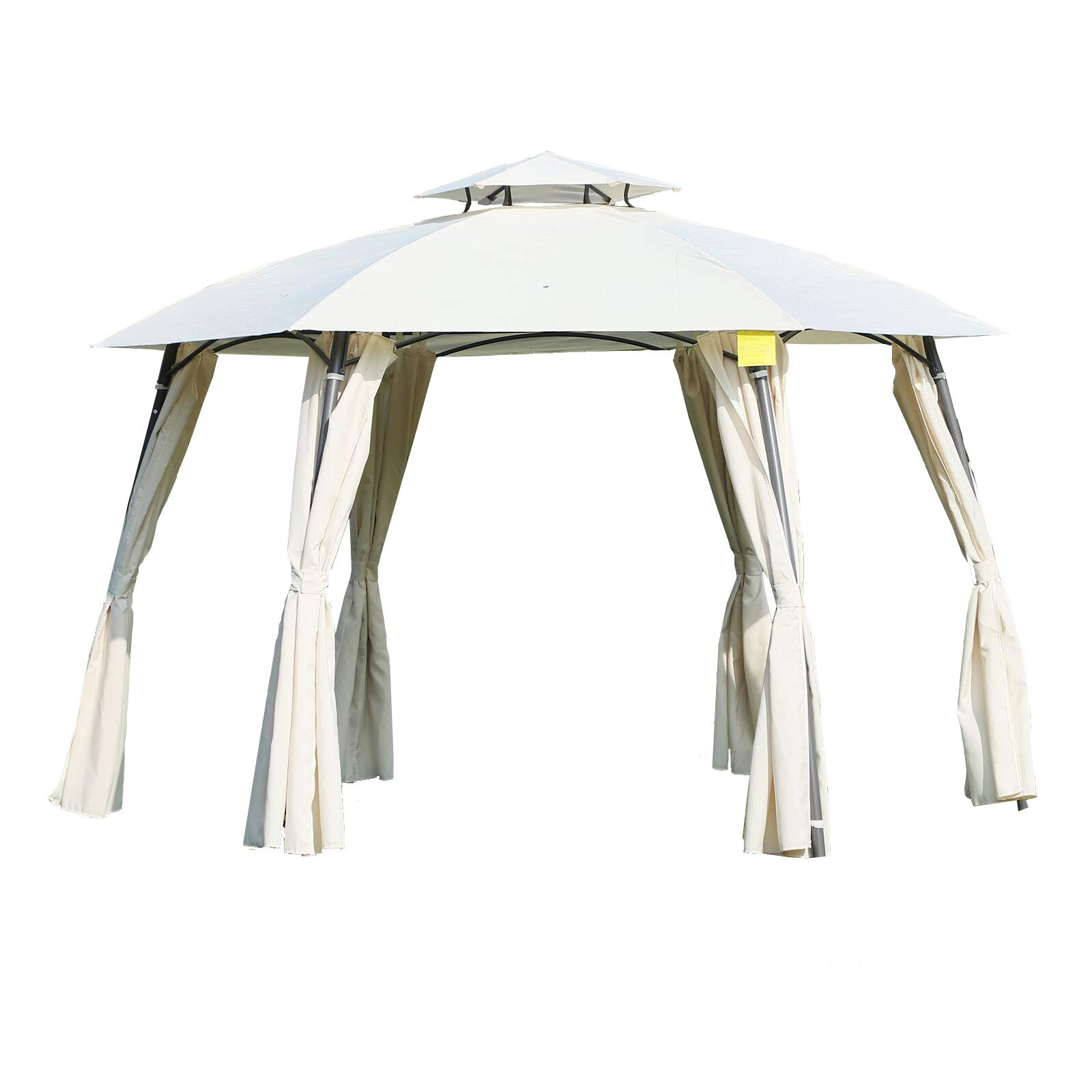 Outsunny 12' x 9' Steel Outdoor Patio Hexagon Gazebo Pavilion Canopy Tent with Curtains - Cream White