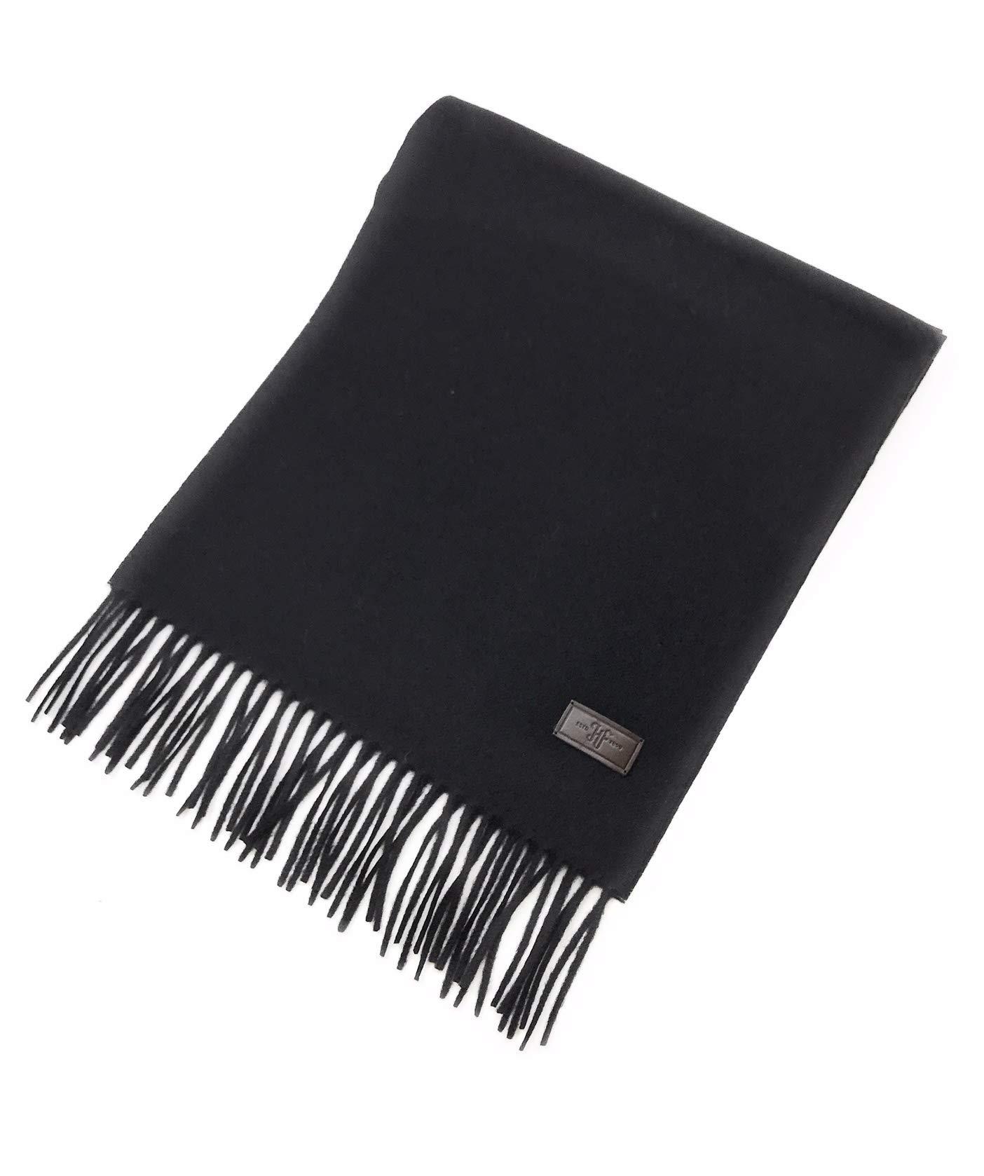 Men's Cashmere Scarf - Black, 100% Italian Cashmere, 72 inches x 12 inches, by Hickey Freeman by Hickey Freeman