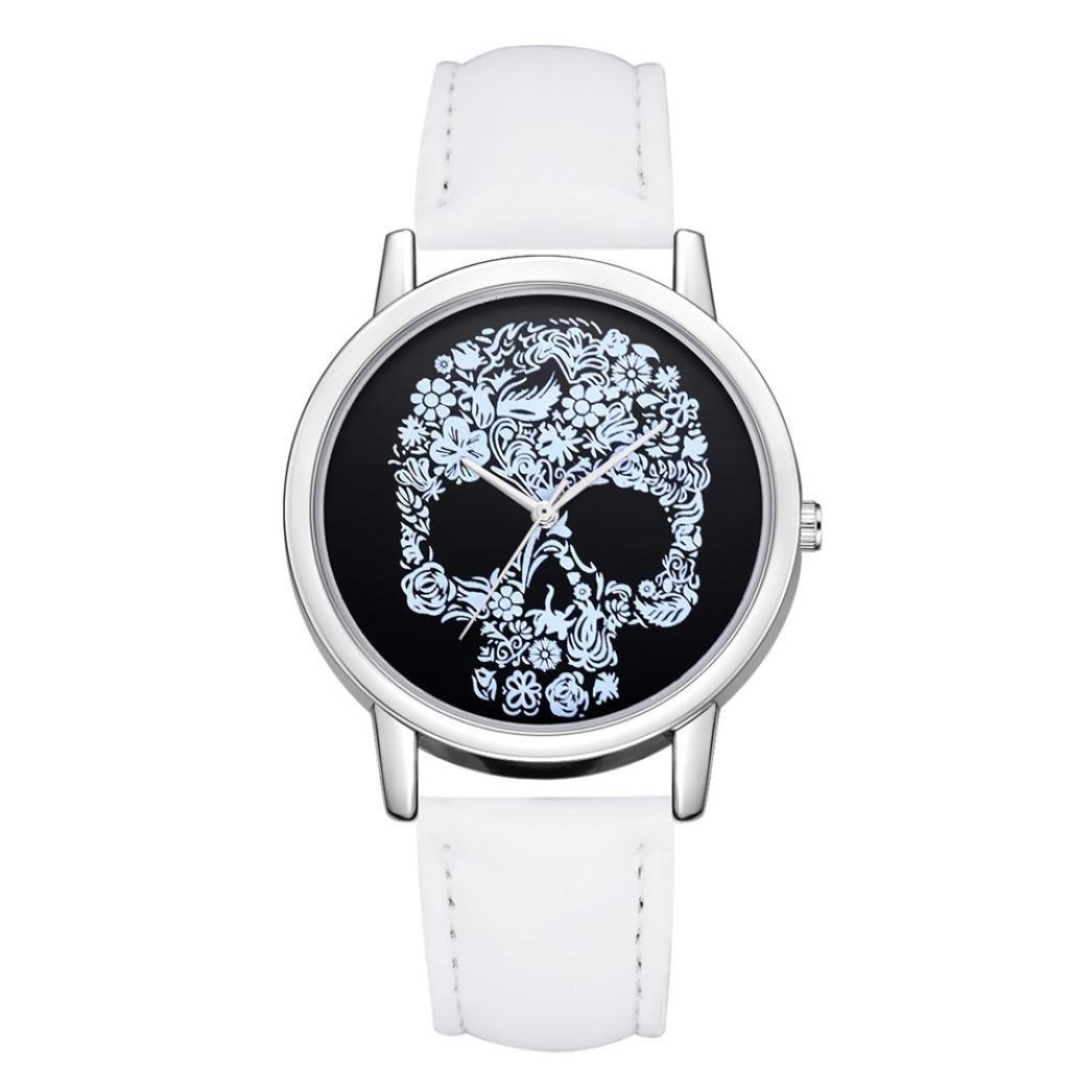 Swyssファッションスカルパターンダイヤル個性シンプルアナログクオーツ腕時計クラシックカジュアル時計シックチャームアクセサリー B07CHBB79J  A