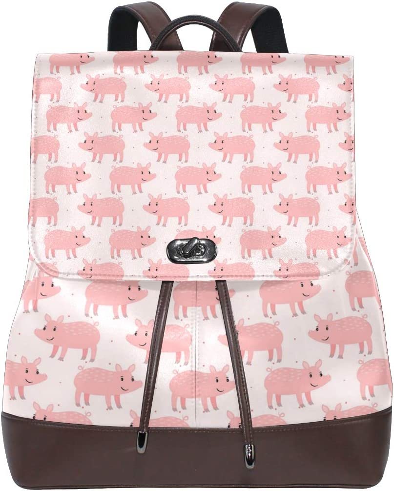 Leather Cute Pink Pig And Dot Backpack Daypack Bag Women