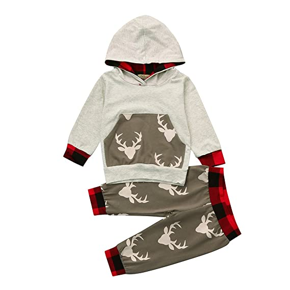 YanHoo Los Onesies de los niños Pantalones de suéter con Capucha y Cuadros de Ciervo Infantil Bebé recién Nacido bebé niña Ciervos con Capucha Tops + ...