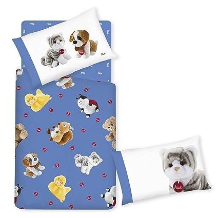 Completo edredón sábanas almohada Trudi Cachorros Azul Gato Perro Una Plaza Gabel